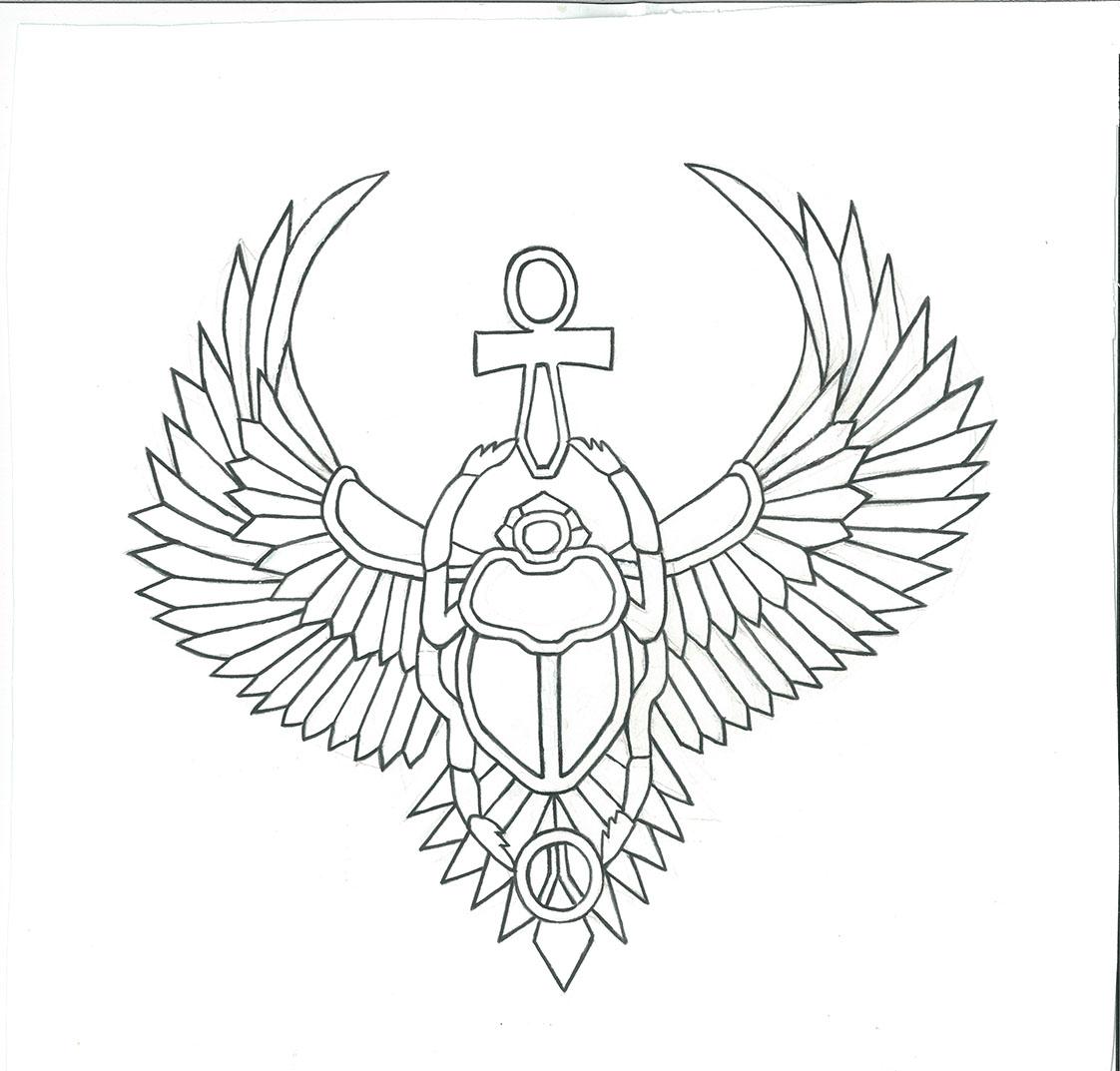 Winged Scarab Drawing